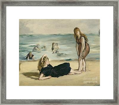 On The Beach Framed Print by Edouard Manet