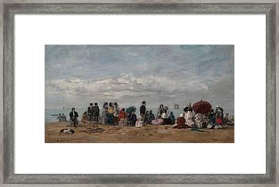 On The Beach Framed Print by Eugene Boudin
