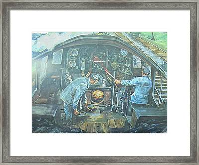 Framed Print featuring the painting On The Footplate by Mike Jeffries