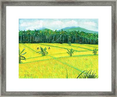 Framed Print featuring the painting On The Way To Ubud II Bali Indonesia by Melly Terpening