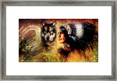 One Dollar Collage With Indian Man Warrior With Wolf Ornament Background Framed Print by Jozef Klopacka