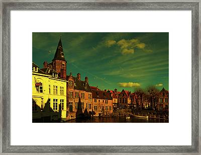 One Of The Picturesque View Old Belgian City Of Bruges  Framed Print