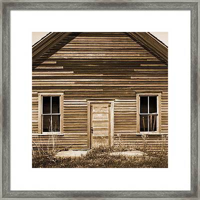 One Room Rural School Sepia Toned Framed Print by Donald  Erickson