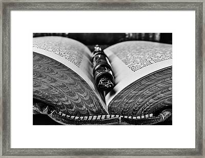 Open Book With Fountain Pen Black And White Framed Print by Garry Gay
