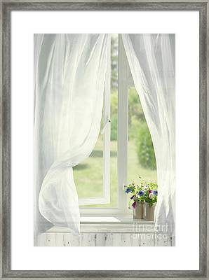 Open Country Window Framed Print by Amanda Elwell