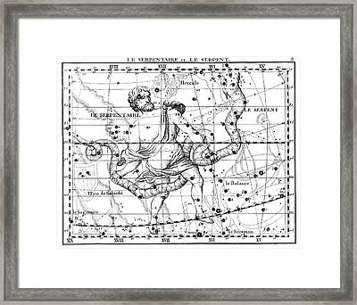 Ophiuchus And Serpens Constellations Framed Print by U.S. Naval Observatory Library