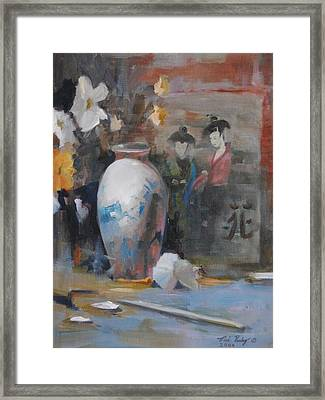 Framed Print featuring the painting Oriental Vase With Flowers by Noe Peralez