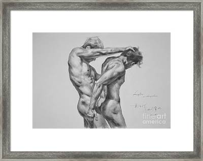 Original Drawing Sketch Charcoal Male Nude Gay Interest Man Art Pencil On Paper -0035 Framed Print