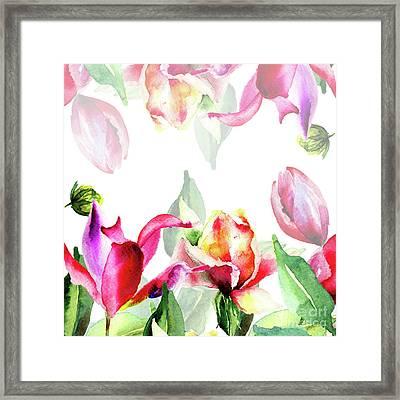 Original Floral Background With Flowers Framed Print