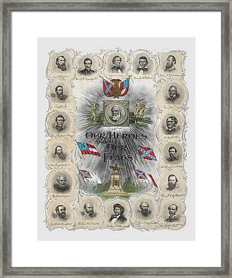 Our Heroes And Our Flags Framed Print by War Is Hell Store