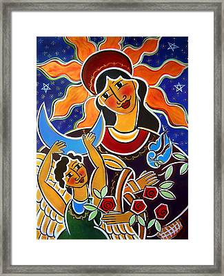 Framed Print featuring the painting Our Lady Of Guadalupe by Jan Oliver-Schultz