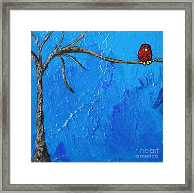 Out On A Limb Framed Print by LimbBirds Whimsical Birds