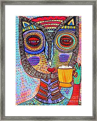 Owl Goddess Drinking Hot Chocolate Framed Print by Sandra Silberzweig