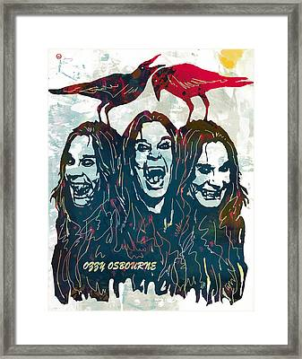 Ozzy Osbourne Pop Stylised Art Poster Framed Print by Kim Wang