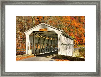 Pa Country Roads - Knox Covered Bridge Over Valley Creek No. 2a - Valley Forge Park Chester County Framed Print by Michael Mazaika