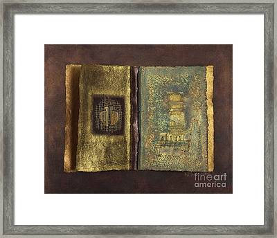 Framed Print featuring the mixed media Page Format No 1 Transitional Series  by Kerryn Madsen-Pietsch