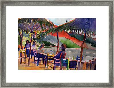 Framed Print featuring the painting Palapas by Gertrude Palmer