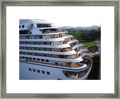 Panama Canal  At Work. Framed Print
