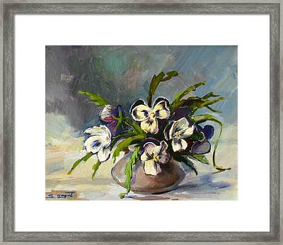 Framed Print featuring the painting Pansies by Tigran Ghulyan