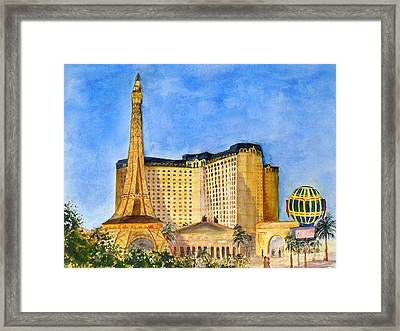 Paris Hotel And Casino Framed Print by Vicki  Housel