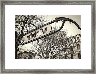 Paris Metro Sign Framed Print by Andrew Soundarajan