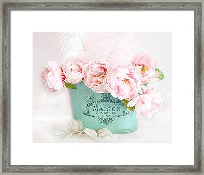 Paris Peonies Shabby Chic Dreamy Pink Peonies Romantic Cottage Chic Paris Peonies Floral Art Framed Print by Kathy Fornal