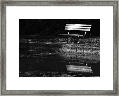 Framed Print featuring the photograph Park Bench Reflections by Wanda Brandon