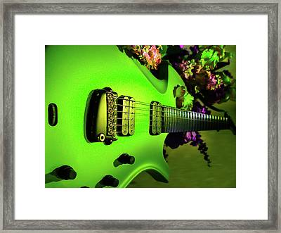 Framed Print featuring the digital art Parker Fly Guitar Hover Series by Guitar Wacky