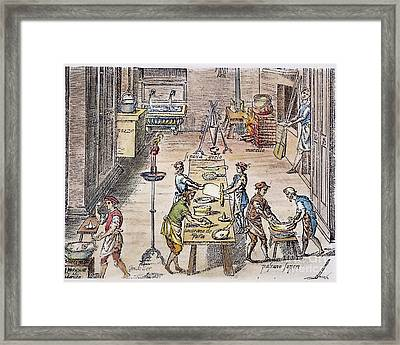 Pasta Making, 16th Century Framed Print by Granger