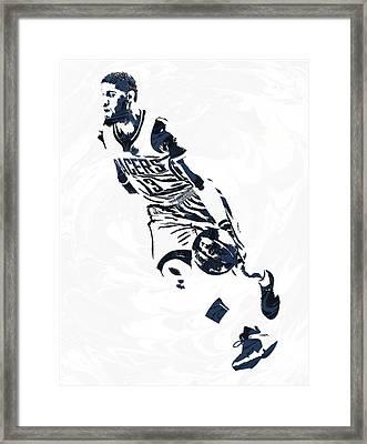 Paul George Indiana Pacers Pixel Art 6 Framed Print