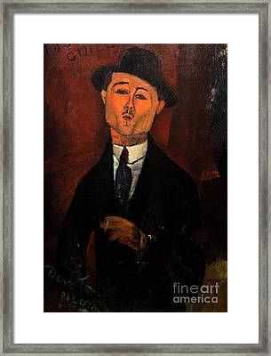 Paul Guillaume, Novo Pilota, By Amedeo Modigliani, 1915, Musee D Framed Print