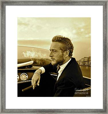 Paul Newman, Movie Star, Cruising Venice, Enjoying A Cuban Cigar Framed Print