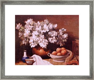 Peaches And Flowers Framed Print by David Olander