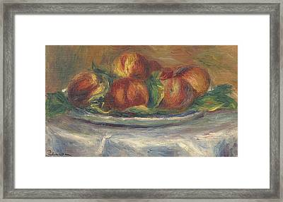 Peaches On A Plate Framed Print