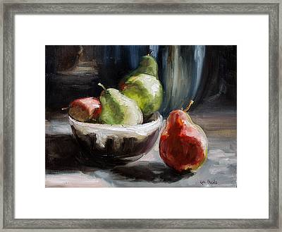 Pears In Grandma's Bowl Framed Print by Kathy Busillo