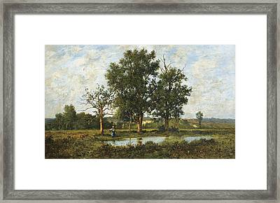Peasant Woman By A Pond Framed Print