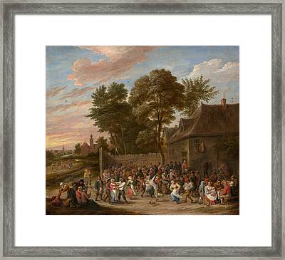 Peasants Dancing And Feasting Framed Print by David Teniers the Younger