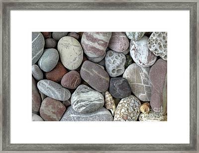 Pebbles In Earth Colors - Stone Pattern Framed Print by Michal Boubin