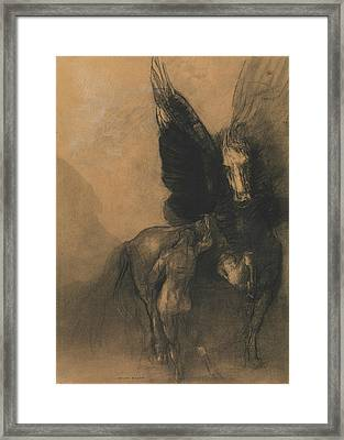 Pegasus And Bellerophon Framed Print by Odilon Redon