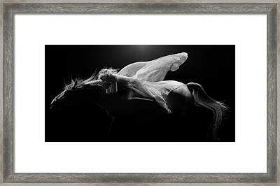 Framed Print featuring the photograph Pegasus Full Bw by Dario Infini