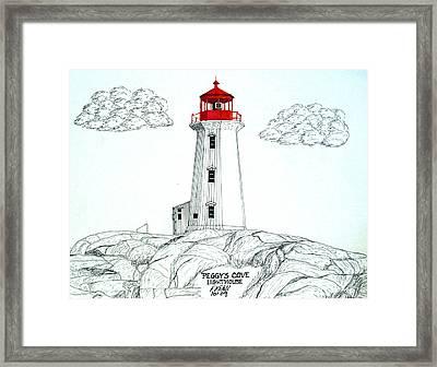 Peggys Cove Lighthouse Framed Print by Frederic Kohli