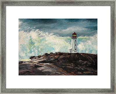 Peggy's Cove Lighthouse Hurricane Framed Print