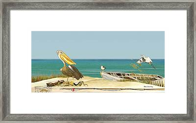 Pelican Fishing Framed Print by Anne Beverley-Stamps