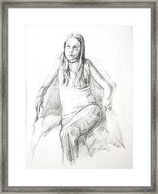 Pensive Girl Framed Print