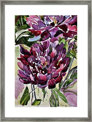 Framed Print featuring the painting Peonies by Mindy Newman