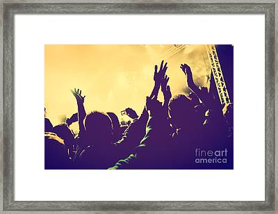 People With Hands Up In Night Club Framed Print by Michal Bednarek
