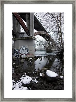 Peoples Park Bridge Spokane River Framed Print