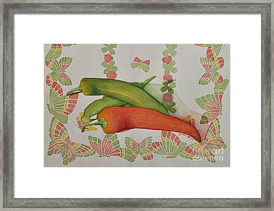 Peppers And Butterflies Framed Print