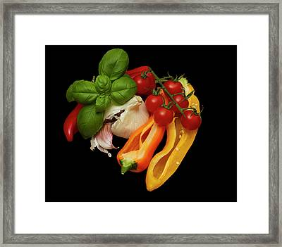 Framed Print featuring the photograph Peppers Basil Tomatoes Garlic by David French