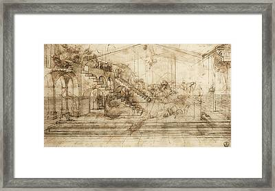 Perspectival Study Of The Adoration Of The Magi Framed Print